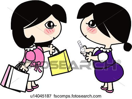 450x337 Clip Art Of Shopping Bag, Shop, Wrist Watch, Holding, Store Clerk