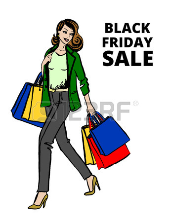 346x450 Fashion Sketch Of Beautiful Woman With Shopping Bags Royalty Free
