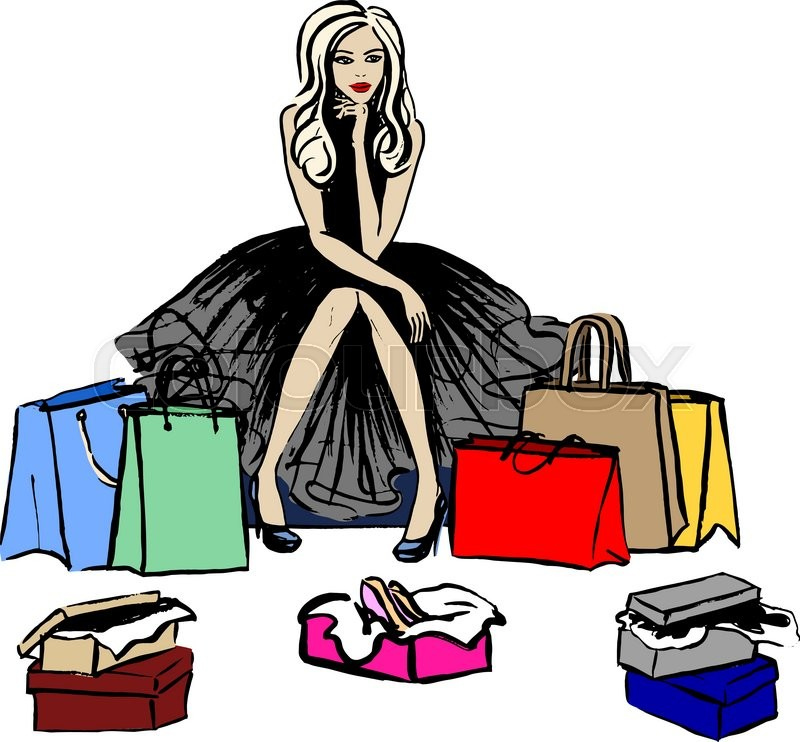800x742 Fashion Illustration Of Thinking Woman In Shop With Shopping Bags