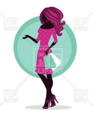 315x400 Fashion Woman With Shopping Bags Royalty Free Vector Clip Art