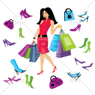 400x400 Pretty Woman In Footware Store With Shopping Bags Royalty Free