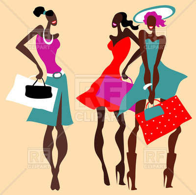 400x397 Retro Style Background With Women With Shopping Bags Royalty Free