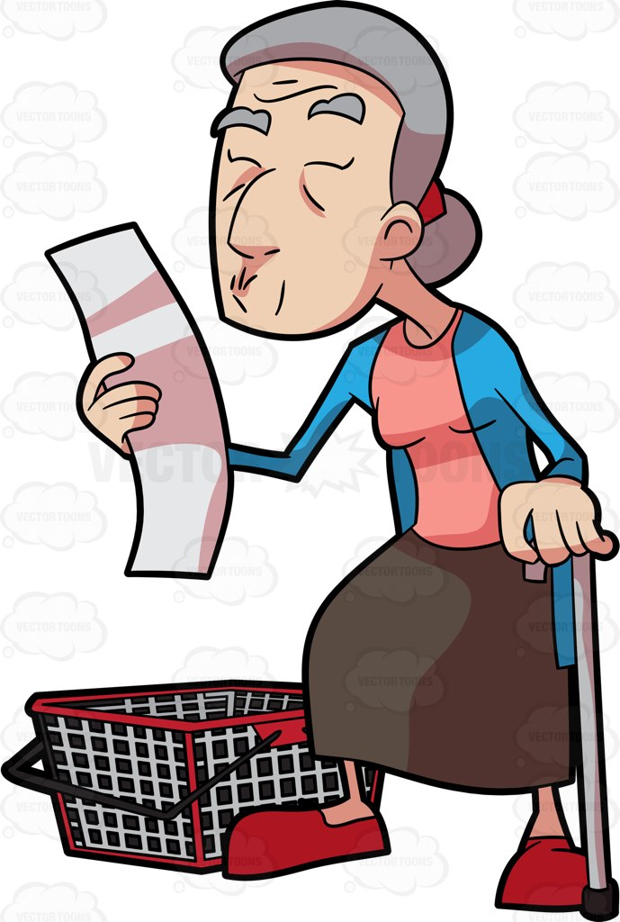 689x1024 A Grandma Checking Her Grocery List Cartoon Clipart
