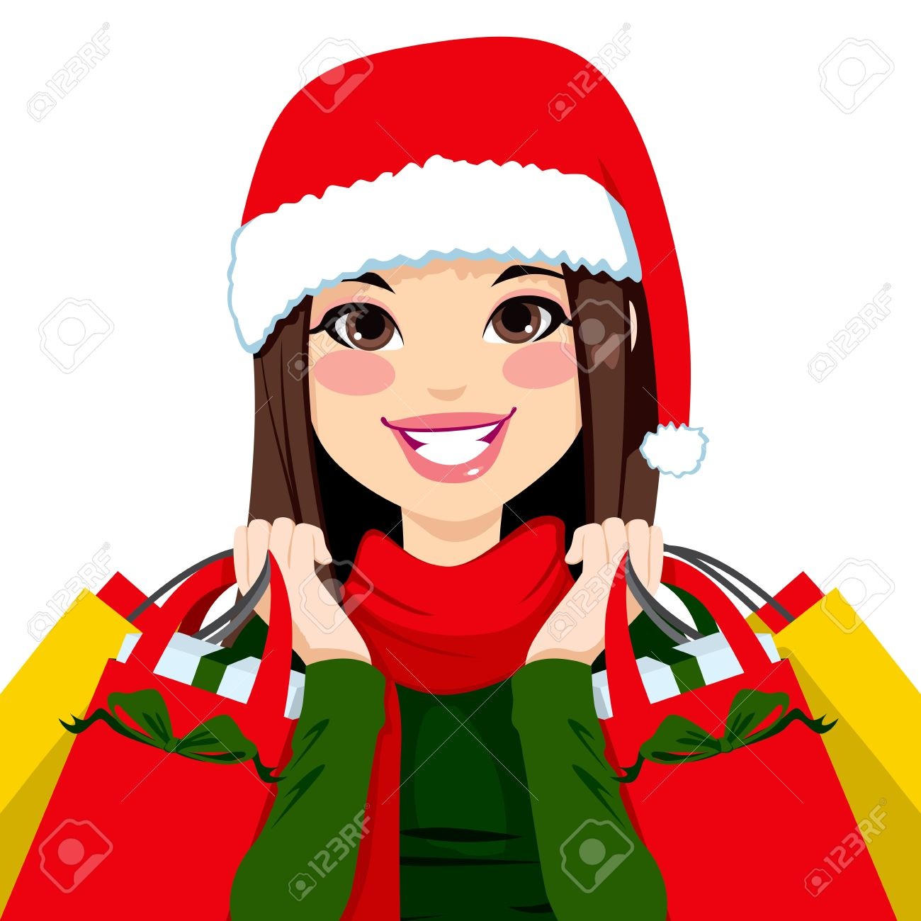 1300x1300 Woman Clipart Christmas Shopping