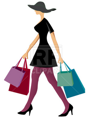 300x400 Woman With Shopping Bags Royalty Free Vector Clip Art Image