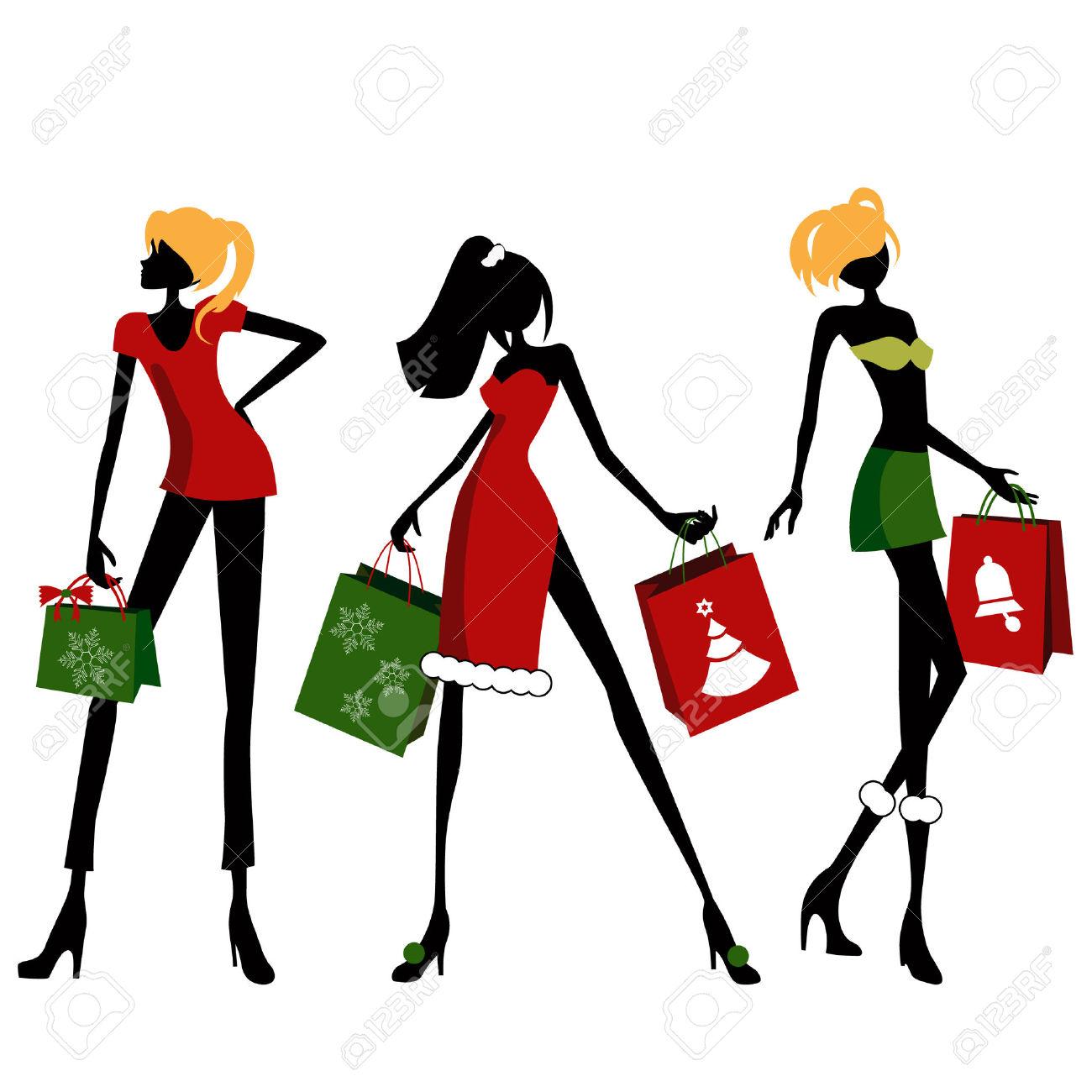 1300x1300 Women Clipart Christmas Shopping