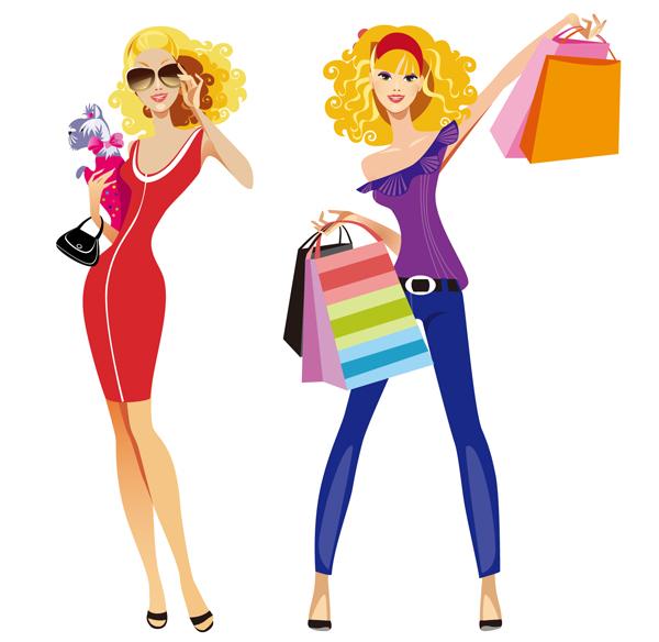 600x584 Free Clip Art Woman Shopping