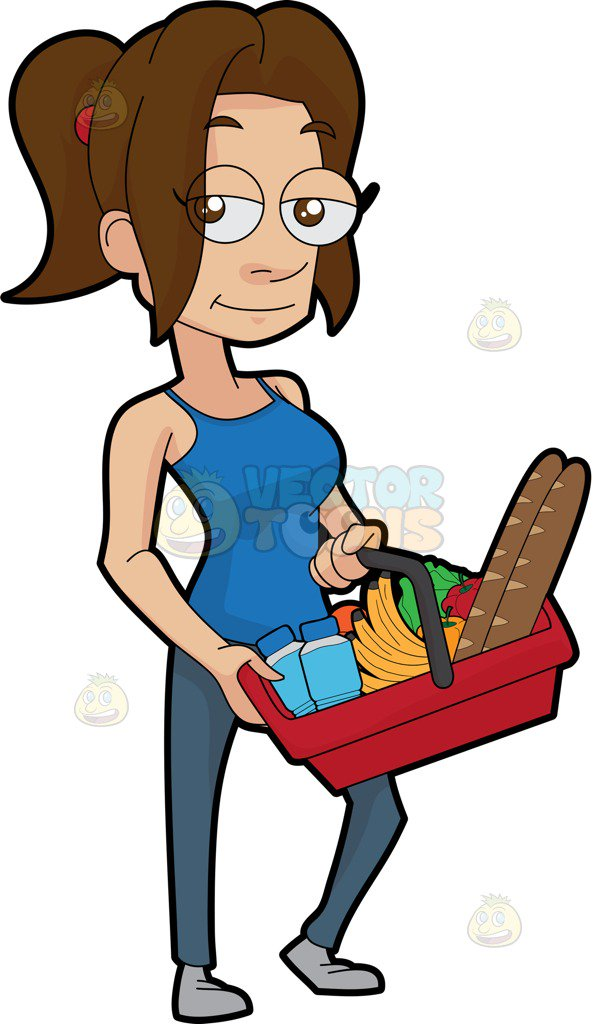 596x1024 A Sexy Woman Shopping For Groceries Cartoon Clipart