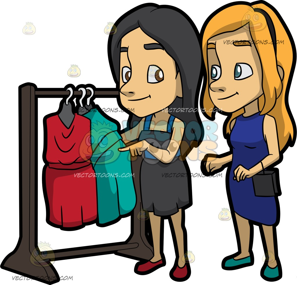1024x981 A Woman Shopping For Dresses With Her Best Friend Cartoon Clipart