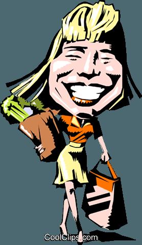278x480 Cartoon Woman Shopping Royalty Free Vector Clip Art Illustration