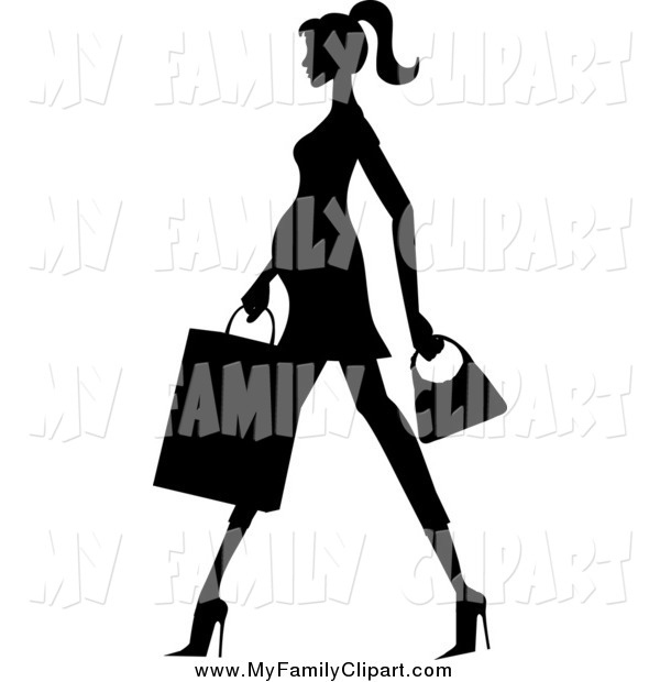 600x620 Clip Art Of A Silhouetted Pregnant Woman Walking With A Shopping