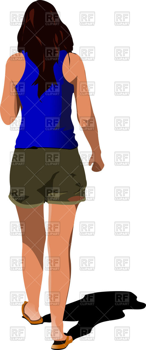 503x1200 Walking Young Woman In Blue Shirt