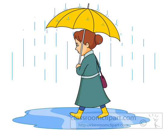 550x437 Weather Woman Walking In Rain Holding Umbrella Clipart 59816