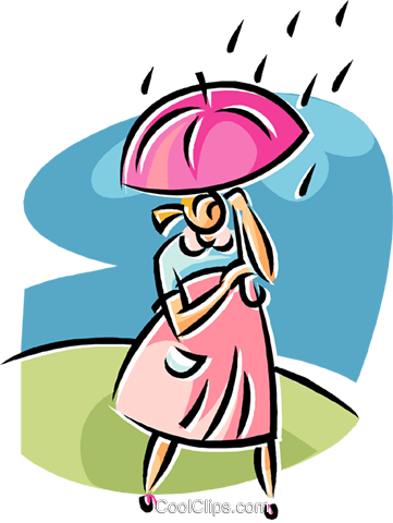 361x480 Woman Walking In The Rain Royalty Free Vector Clip Art