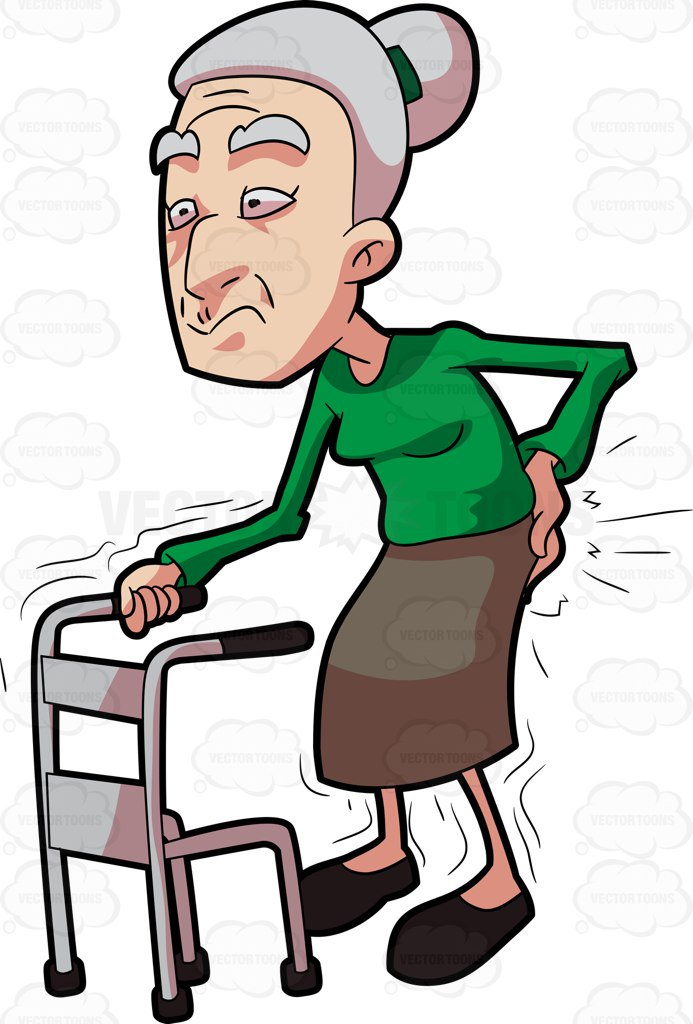 693x1024 A Grandma Having Backaches While Walking Cartoon Clipart