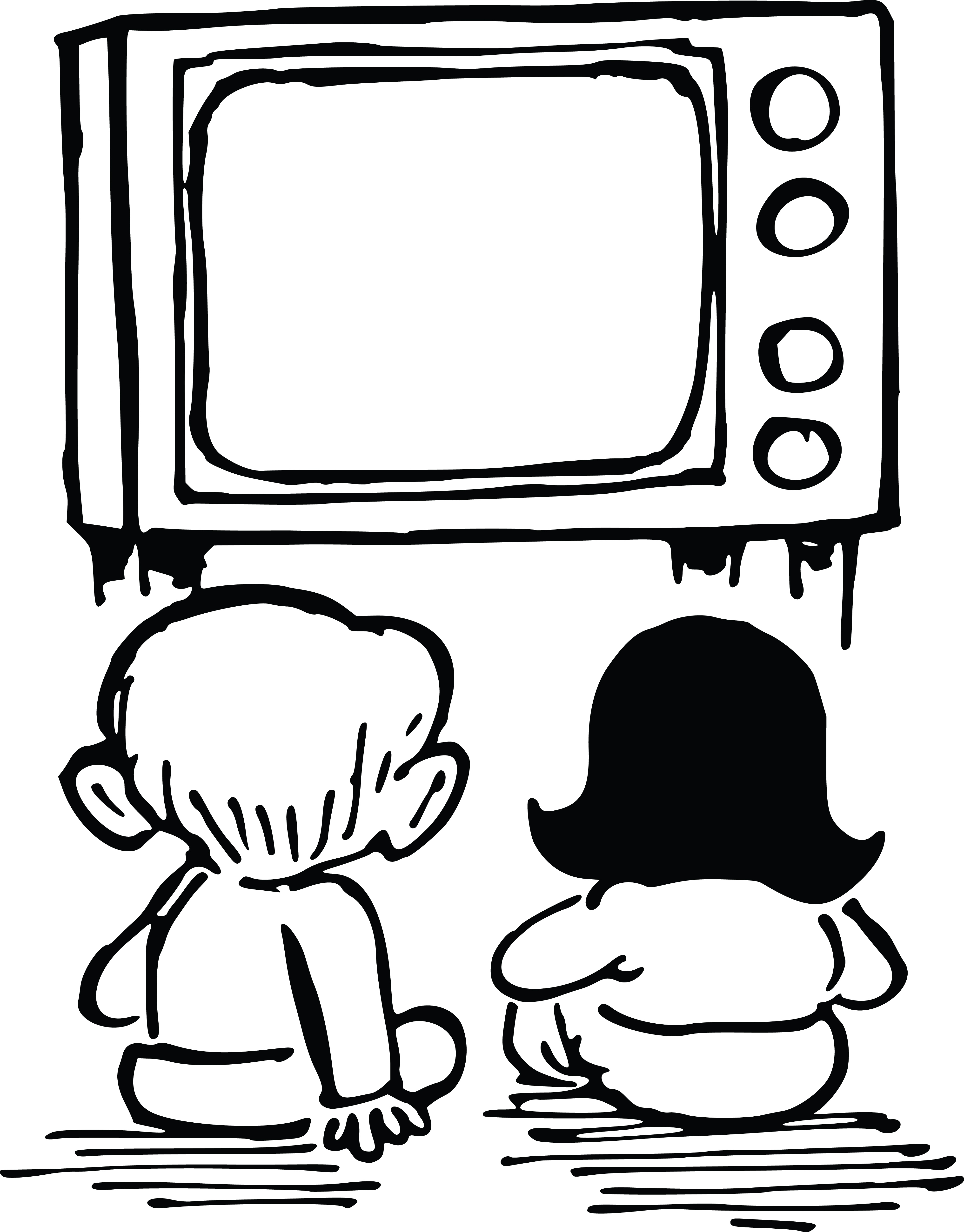 4000x5114 Clipart Of Kids Watching Tv
