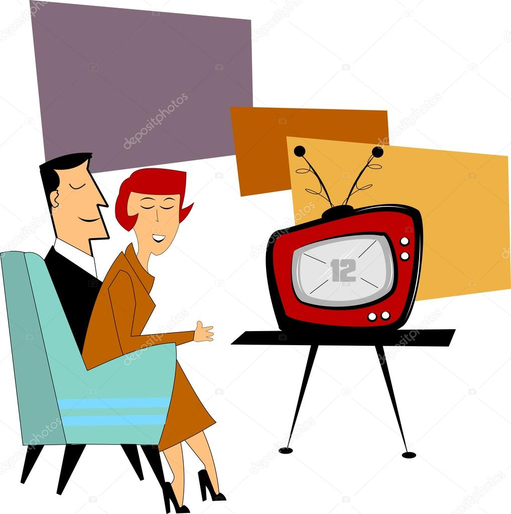 1018x1023 Couple Watching Tv Stock Vectors, Royalty Free Couple Watching Tv