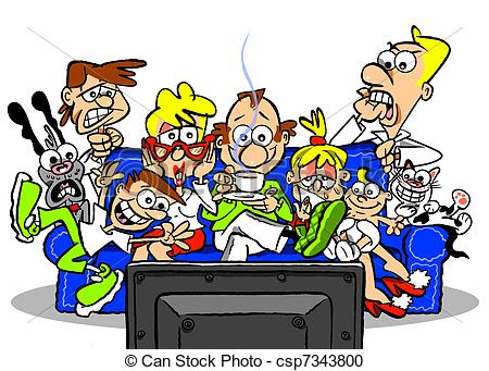 450x341 Family Watching Tv Clipart