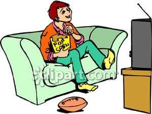 300x224 Little Girl Watching Tv Clipart