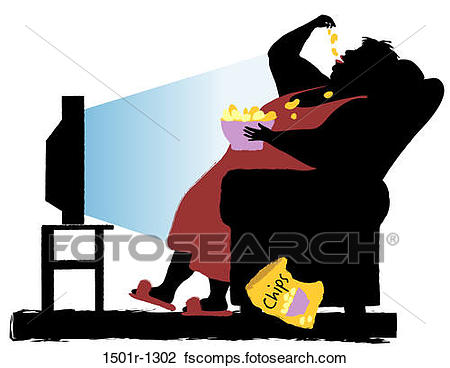 450x368 Stock Photo Of Overweight Woman Watching Tv And Eating Chips