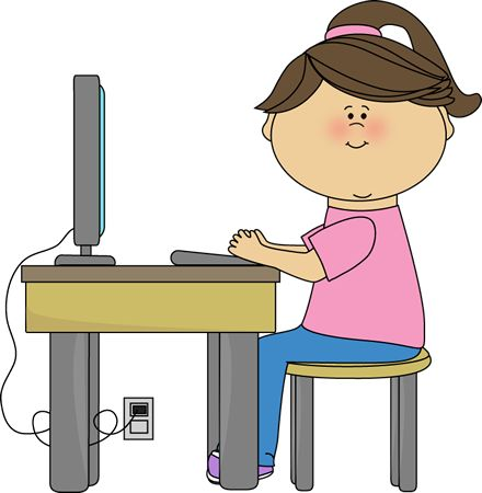 440x450 Watching Computer Clipart