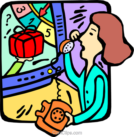 469x480 Woman On The Phone Watching Tv Royalty Free Vector Clip Art