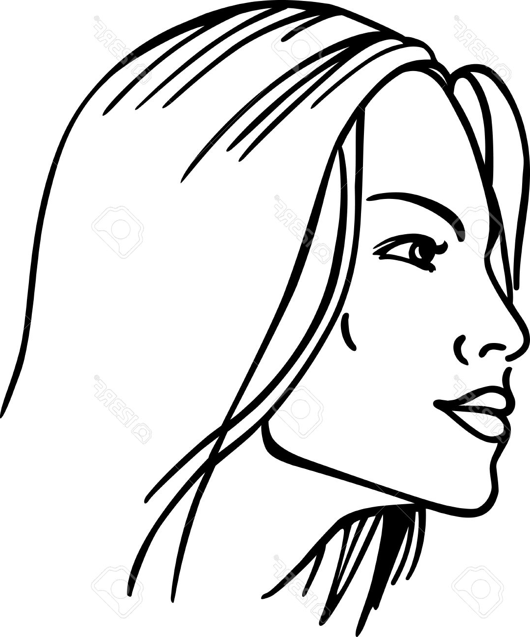 1082x1300 Women Face Sketch Outline Outline Of A Girls Face Free Download