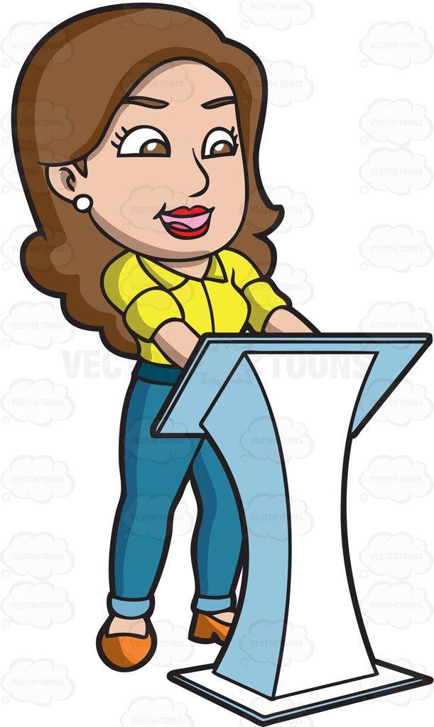 611x1024 A Woman Speaking Behind A White Podium Cartoon Clipart