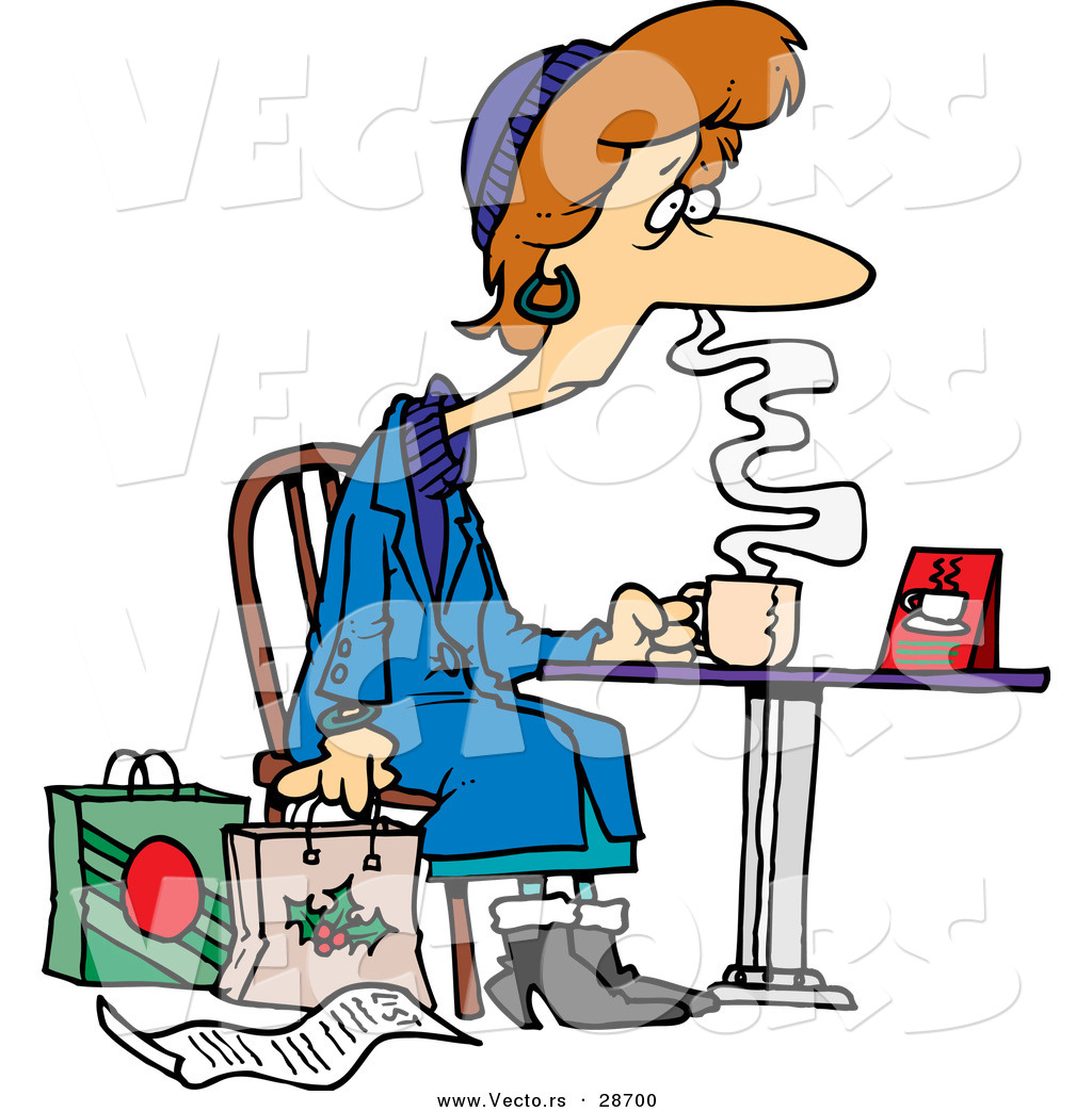 1024x1044 Cartoon Vector Of A Tired Female Christmas Shopper Drinking Coffee