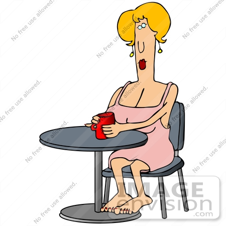 450x450 Clip Art Graphic Of A Pretty Blond Woman In A Pink Dress, Sitting