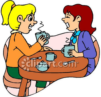 350x335 Housewives Spreading Gossip, Having Coffee Clip Art