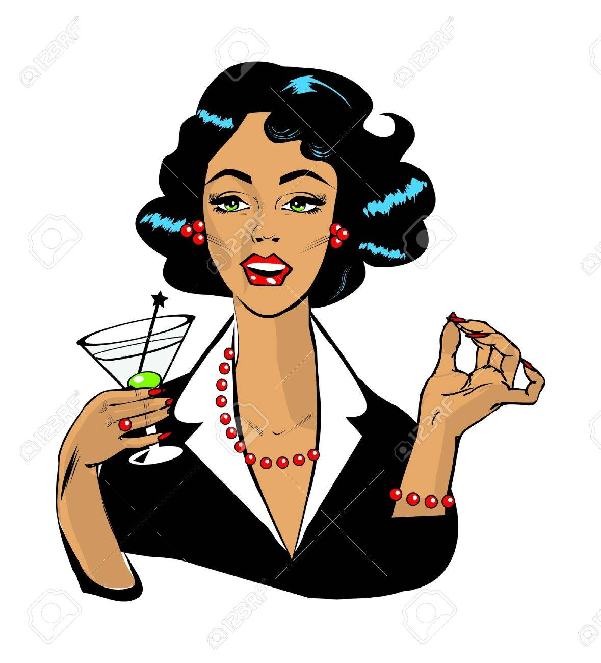 1179x1300 Woman Drinking Martini Or Cocktail Retro Vintage Clipart Royalty