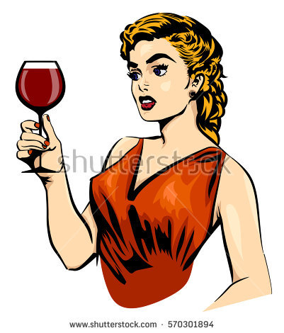 401x470 Middle Aged Woman Drinking Wine Clipart