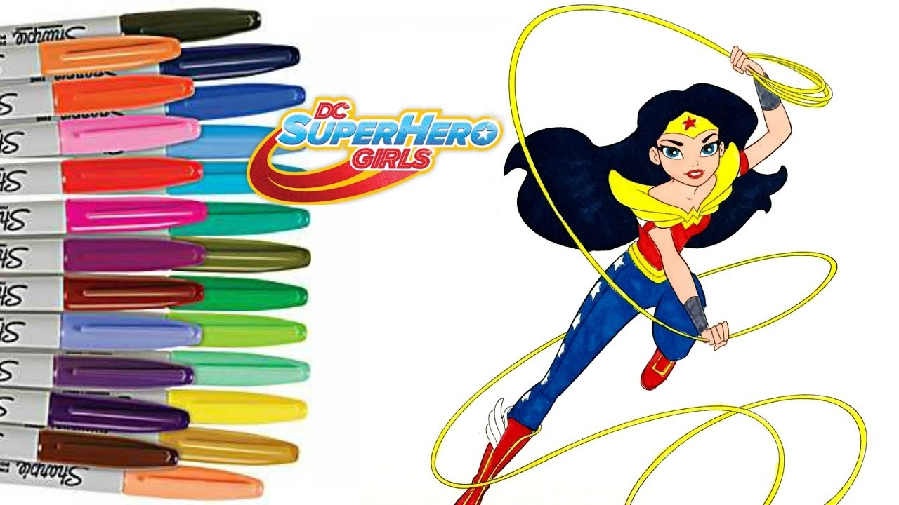 1280x720 Dc Superhero Girls Wonder Woman Coloring Book Page