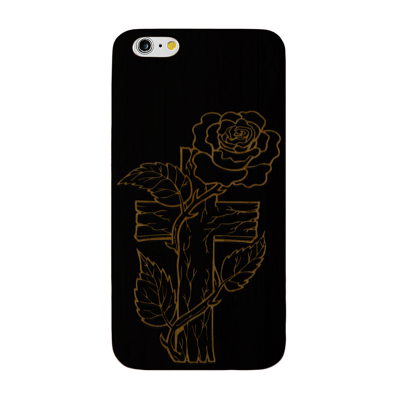 1500x1500 Laser Engraved Wood Case Rose Cross Drawing Ebay
