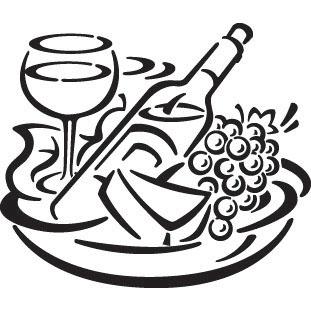 311x311 Fruit, Wine And Cheese Stock Illustration Image Woodburning