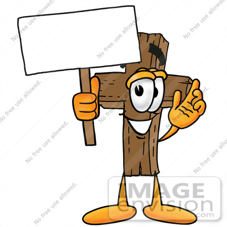 450x450 Cliprt Graphic Of Wooden Cross Cartoon Character Holding