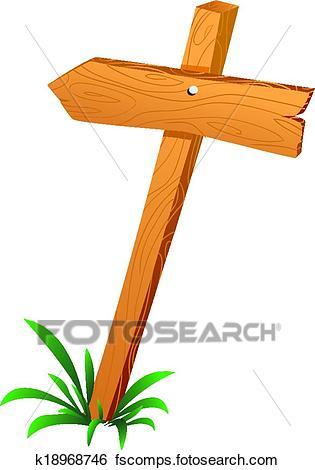 315x470 Clip Art Of Wooden Sign Arrow K18968746