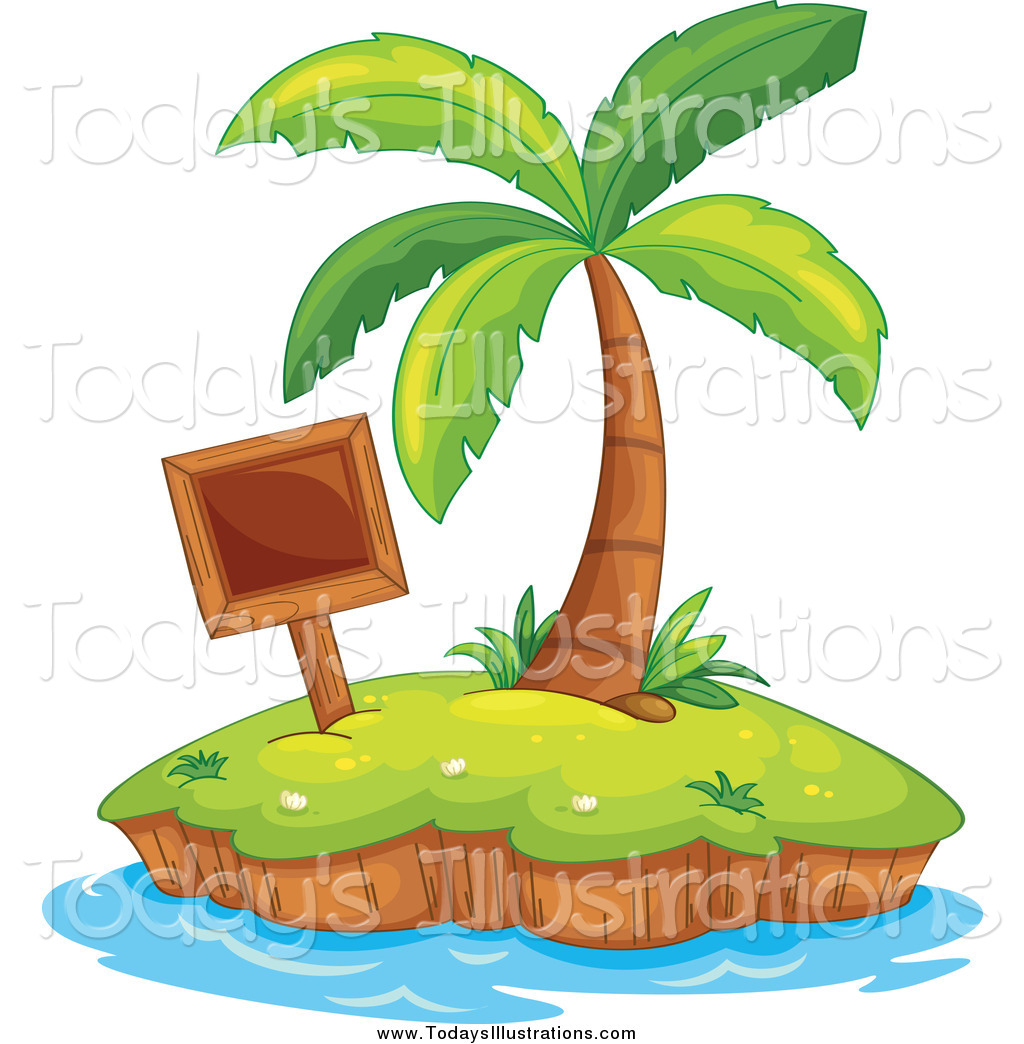 1024x1044 Clipart Of A Tropical Island With A Blank Wood Sign And Palm Tree