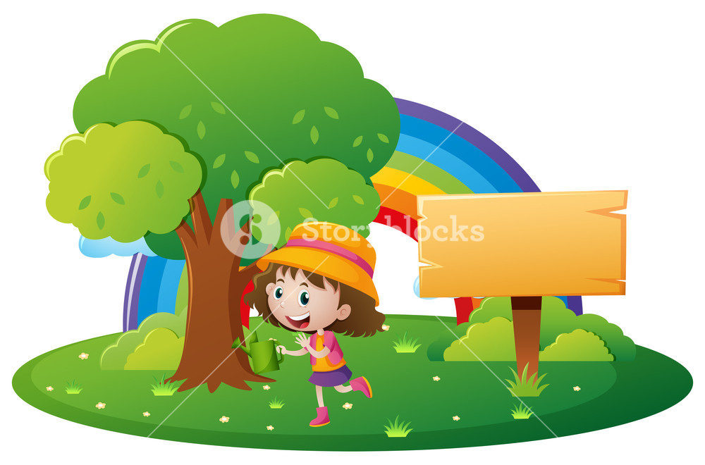 1000x660 Girl And Wooden Sign In The Park Illustration Royalty Free Stock