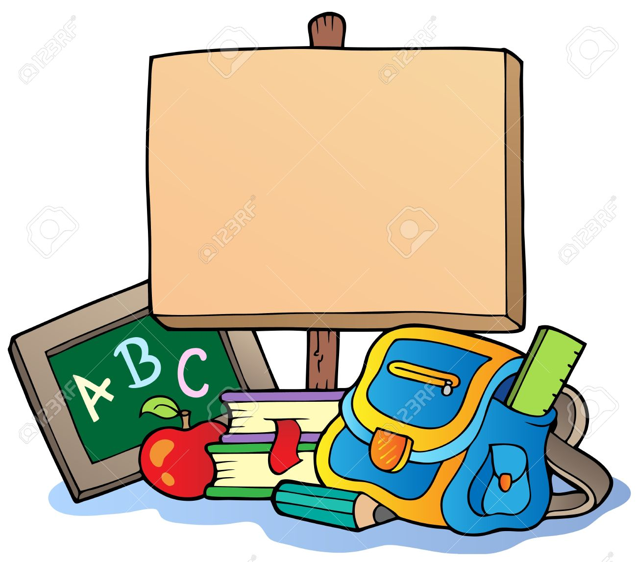 1300x1147 School Theme With Wooden Board Royalty Free Cliparts, Vectors,