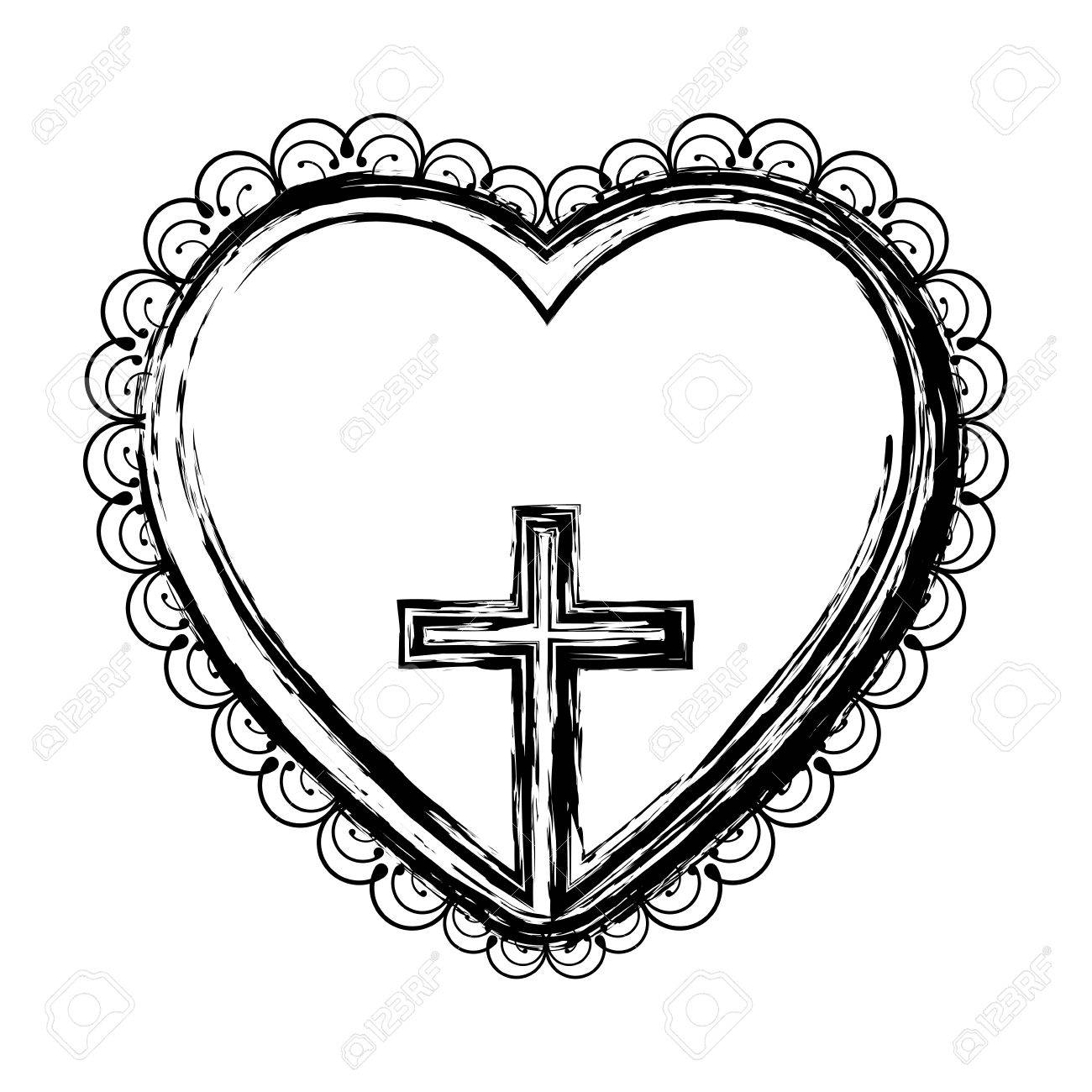 1300x1300 Blurred Silhouette Heart Decorative Frame With Small Wooden Cross