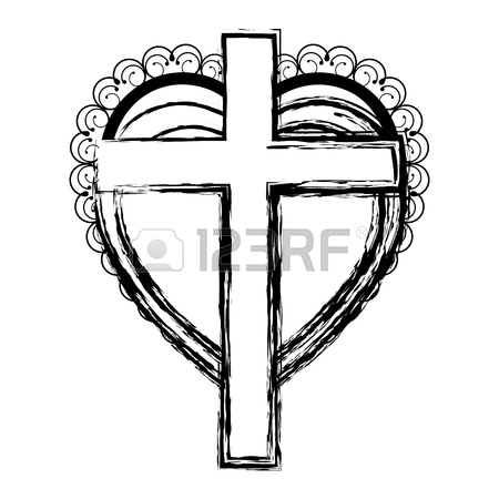 450x450 Silhouette Heart Decorative Frame With Wooden Cross Inside Vector