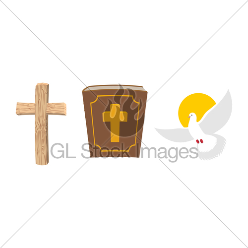 500x500 Holy Bible, Wooden Cross And White Dove Christian Symbol Gl