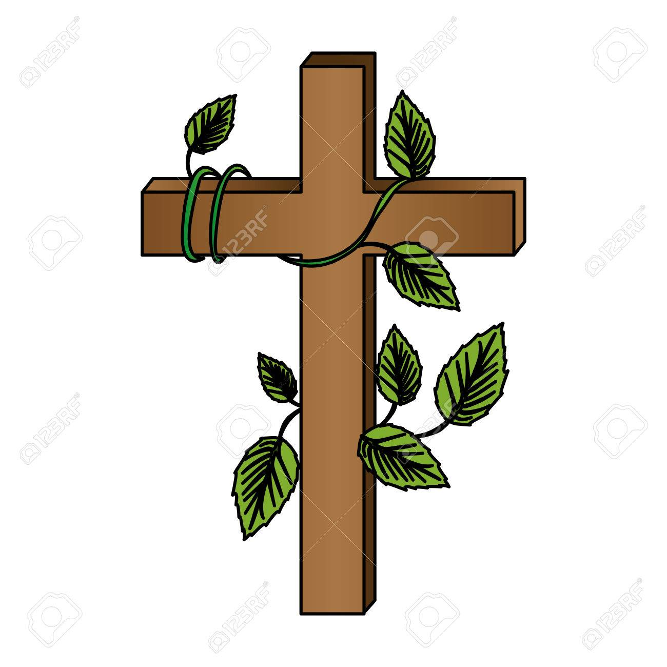 1300x1300 White Background With Colorful Wooden Cross And Creeper Plant