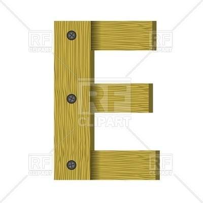 400x400 Font Of Screwed Wooden Planks, Letter E Royalty Free Vector Clip