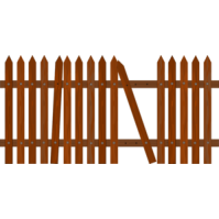 199x199 Fence Clipart Broken Fence
