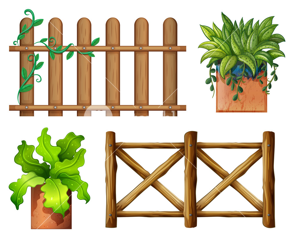 1000x810 Illustration Of The Wooden Fence And Potted Plants On A White