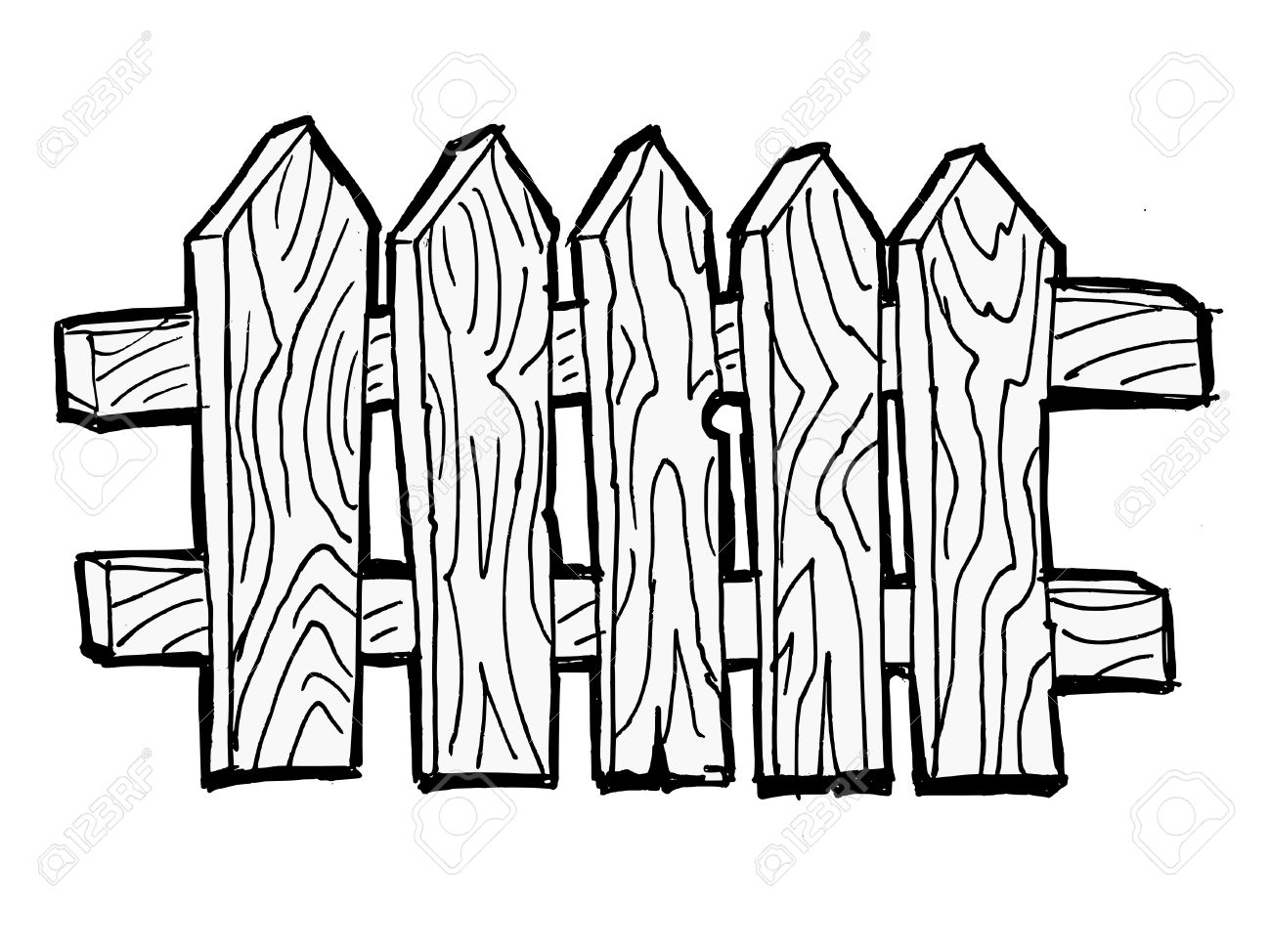 1300x974 Old Wooden, Fence On The White Background Royalty Free Cliparts