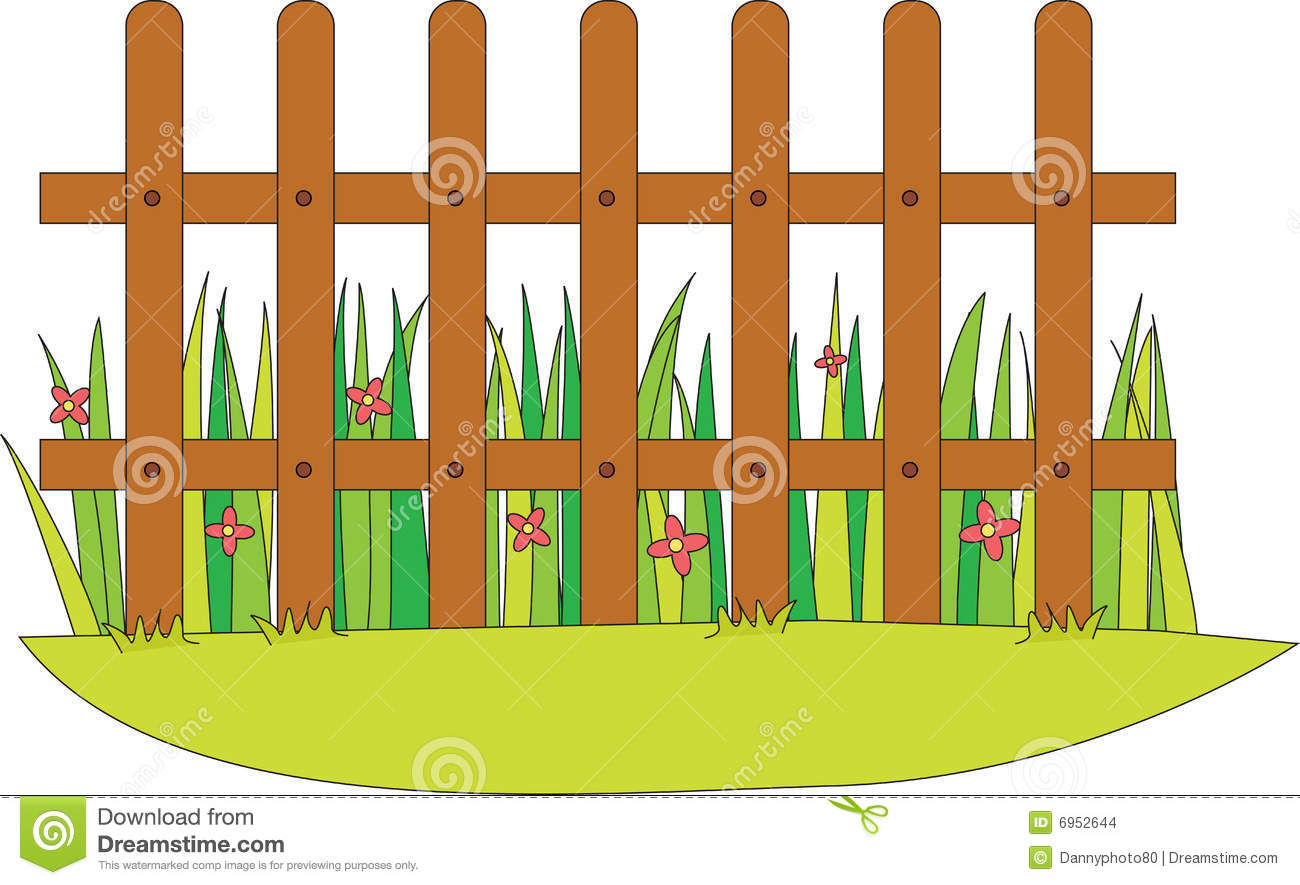 1300x885 Picket Fence With Flowers Clipart